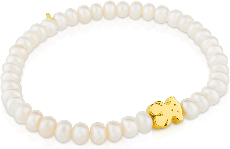 Pulsera elástica TOUS Sweet Dolls en oro amarillo de 18kt y perlas cultivadas de agua dulce