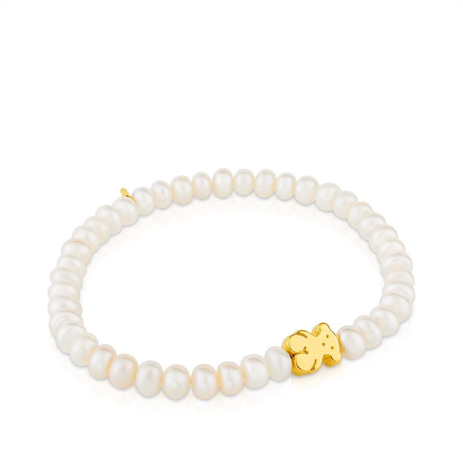 TOUS Sweet Dolls Yellow-Gold 18k Stretch Bracelet with White Chinese-Freshwater-Cultured Pearl 5.0 mm by TOUS