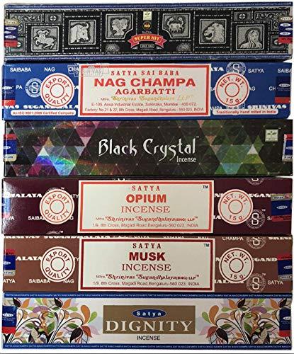 Nag Champa 6 Piece Variety Pack-Nag Champ, Super hit, Black Crystal, Opium, Musk, and Dignity