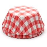 Fox Run 6919 Gingham Bake Cups, Standard, 50 Cups, Red