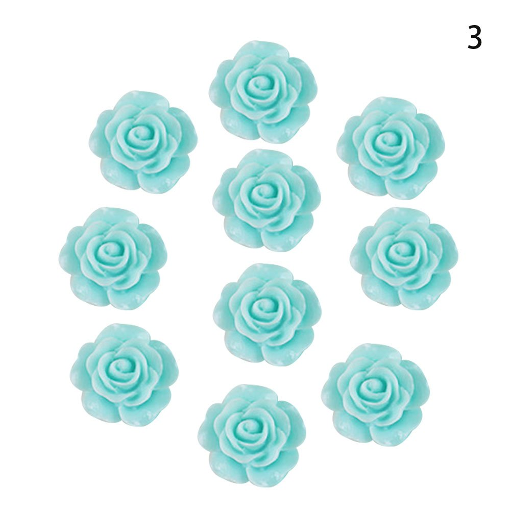 Taloyer 30Pcs 15MM Resin Rose Flower Flatback Appliques for DIY Phone Shell Beauty Paste Drilling Accessories (Blue)