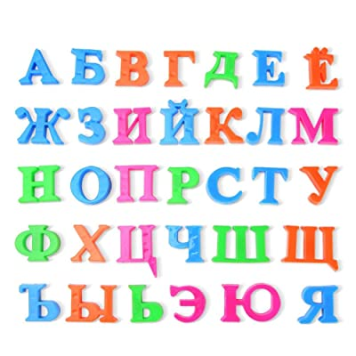 Novobey 33 Pcs Russian Alphabet A-Z Magnetic Refrigerator Sticker Educational Learning Toy for Kids (Type B): Toys & Games