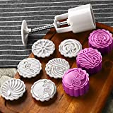Moon Cake Mold with 6 Stamps - Mid Autumn Festival DIY Decoration Cookie Press 50g Cake Stamps