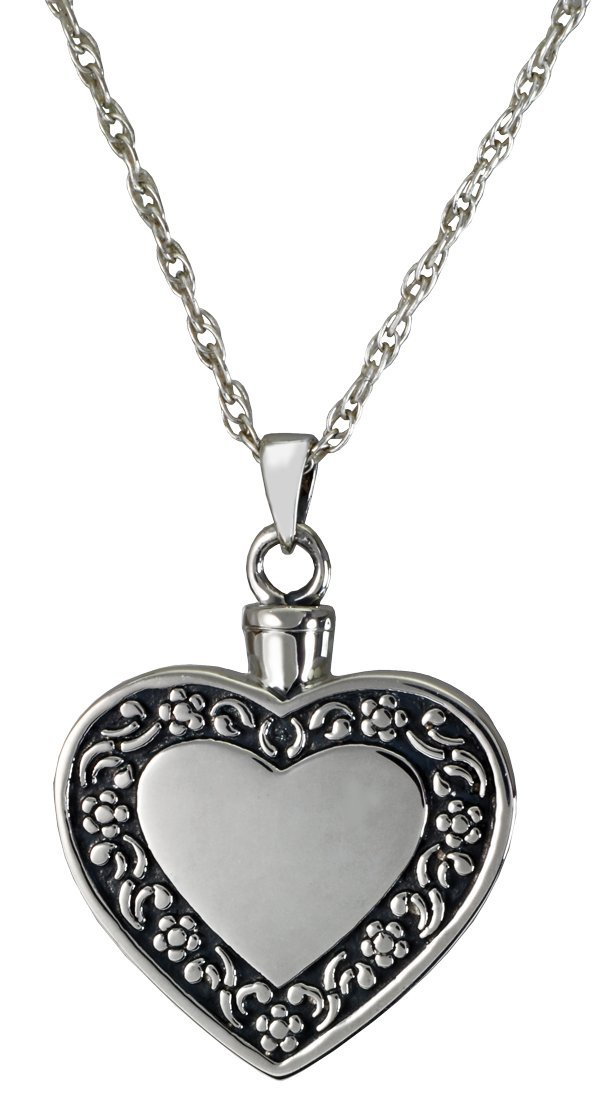 Memorial Gallery 3058-bs Rimmed Heart Sterling Silver Cremation Pet Jewelry
