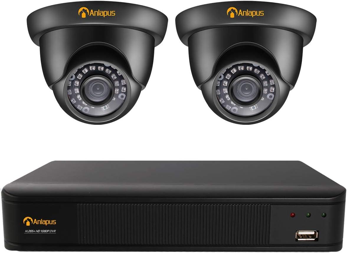 Anlapus 1080P CCTV Kit de Videovigilancia 4CH 2MP Videograbador con 2 Cámaras de Vigilancia Exterior, sin Disco Duro, Visión Nocturna, Acceso Remoto