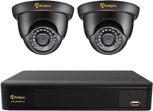Opinión sobre Anlapus 1080P Sistema de Vigilancia 8CH H.265+ Videograbador DVR con (2) Cámara de Seguridad Exterior Negra, 20m Visión Nocturna, Alarma de Movimiento, P2P