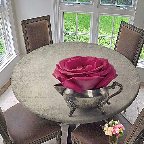 Mikihome Chateau Easy-Care Cloth Tablecloth Red Rose in a Tea Cup for Home, Party, Wedding 59