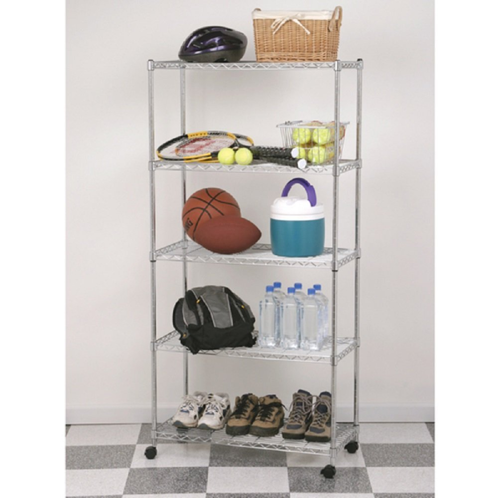Amazon.com: Shelving System Garage with Wheels Rolling 5-Shelf ...