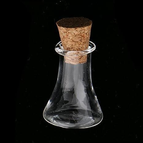 MagiDeal 10 Piezas Mini Botella de Vidrio Tapón de Corcho 2.5x1.5 cm Botella de Deseos para DIY Bricolaje - Claro: Amazon.es: Hogar