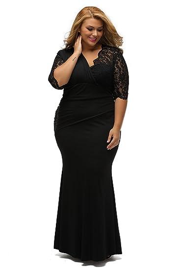 Neue Damen Plus Größe Schwarz Spitze Abendkleid besonderen Anlass ...