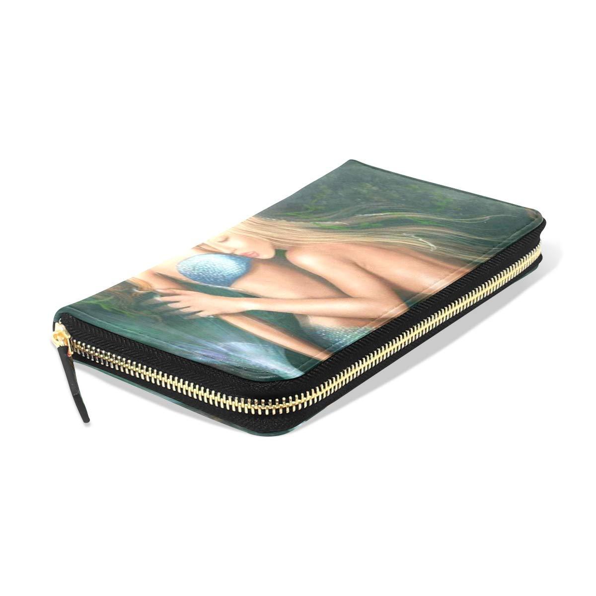 Womens Wallets Princess Mermaids Lake Leather Passport Wallet Coin Purse Girls Handbags