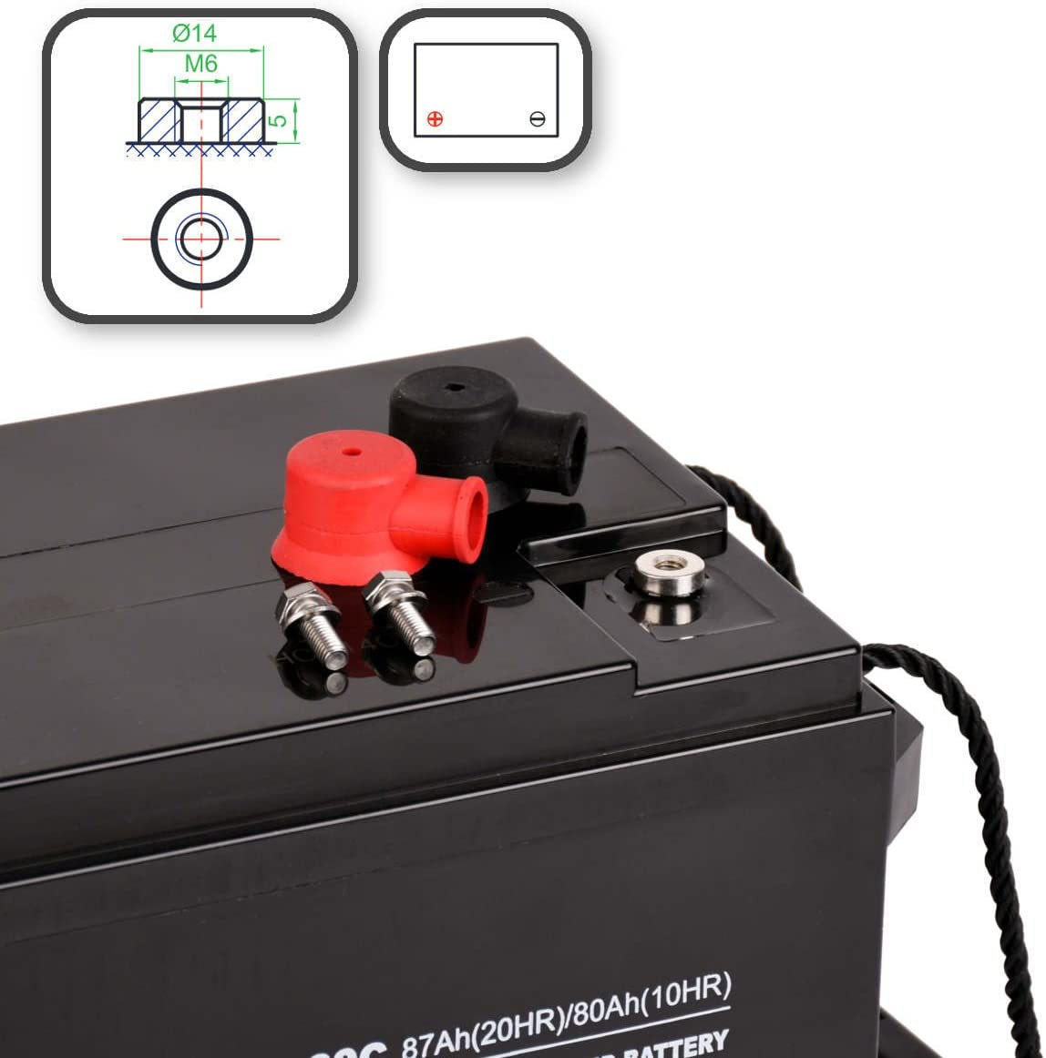 ECTIVE Bleiakku 12V 36Ah Zyklenfeste AGM Batterie Blei Akku EBC-Serie 13 Varianten wartungsfrei 25Ah 280Ah