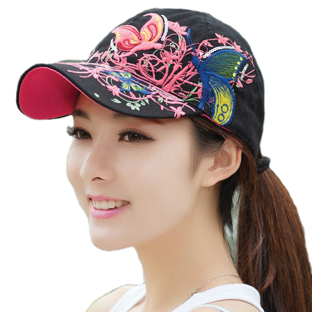4d14cde7 TININNA Adjustable Butterfly Baseball Hat Cap Snapback Trucker Hat Hat  Hiking Hat Motorcycle Cap for Women Girls Ladies Black: Amazon.co.uk:  Kitchen & Home