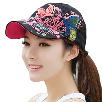 HugeStore Women Ladies Butterfly Baseball Cap Snapback Hat Sun Hats Trucker  Hat Hiking Hat Black  Amazon.co.uk  Kitchen   Home b6643b5a325b