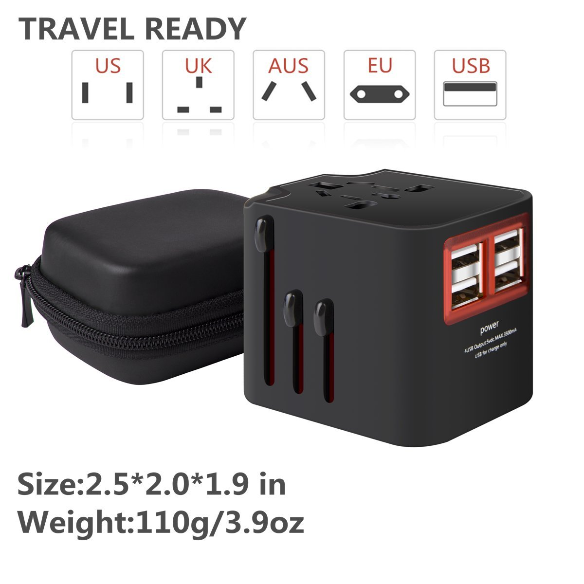 International Travel Adapter, Worldwide Travel Charger with 4 USB Ports Power Converters for EU, UK, US, USA, AU, Europe & Asia, All-in-one Universal Wall Plug Multi-Outlets Electrical Adaptor - Black by YIVIEW (Image #6)