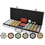 DA VINCI Monte Carlo Poker Club Set of 500 14 Gram 3 Tone Chips with Aluminum Case, Cards, 2 Cut Cards, Dealer and Blind Buttons