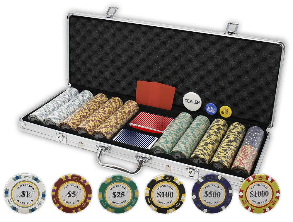 Da Vinci Monte Carlo Poker Club Set of 500 14 Gram 3-Tone Chips with Aluminum Case, Cards, 2 Cut Cards, Dealer & Blind Buttons