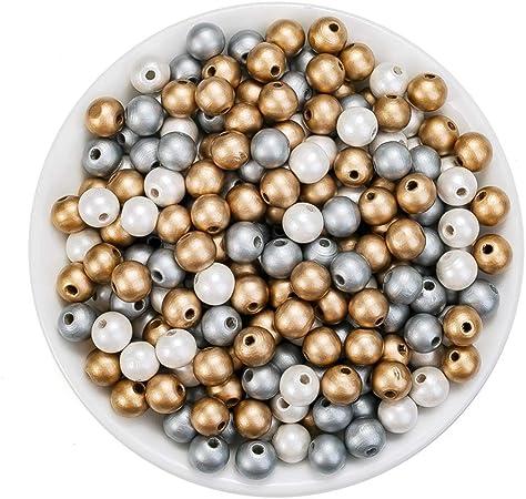 100 Stück Holzperlen mit Loch Holzkugeln Holz perlen Bastelnperlen für DIY