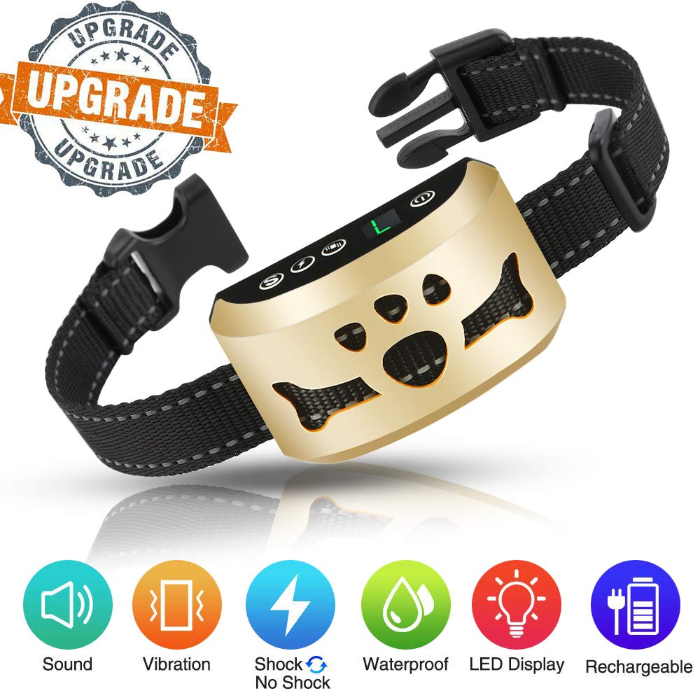 lushujun Dog Bark Collar, Rechargeable Stop Barking Collar with 7 Adjustable Sensitivity and Intensity Levels, Rainproof Bark Collar for Small Large Medium Dogs (6.5 to 24-inch Neck Size)