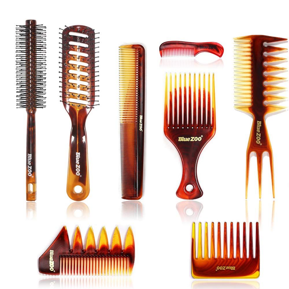 Hair Brushes and Combs Set of 8, Detangling Brush and Hair Comb Set for Men and Women, Great for Wet/Dry Hair, No More Tangle Hairbrush for Long Thick Thin Curly Natural Hair