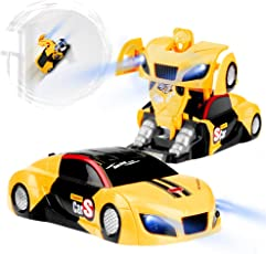 Betheaces Remote Control Car, Transforming Wall Climbing Toys RC Car Gift for Boys Girls, Rechargeable 360°Rotating with One-Button Deformation Function and LED Light, Robot Cars Kit Toy for Kids