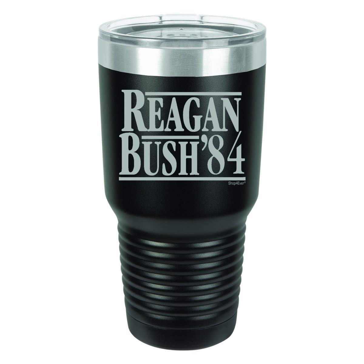 Shop4Ever Reagan Bush '84 Laser Engraved Tumbler with Lid ~ Double Sided Print ~ (Black, 30 oz.)