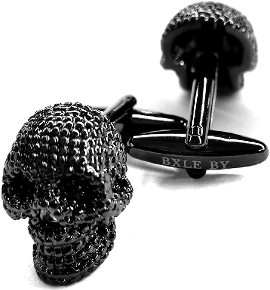 BXLE by Cool Gothic Skull Cuff-Links, Unique 3D Skeleton Cufflinks for Young Men Theme Party, Great Fashion Groomsmen Gift, Pirate & Punk Style Suit Accesorries