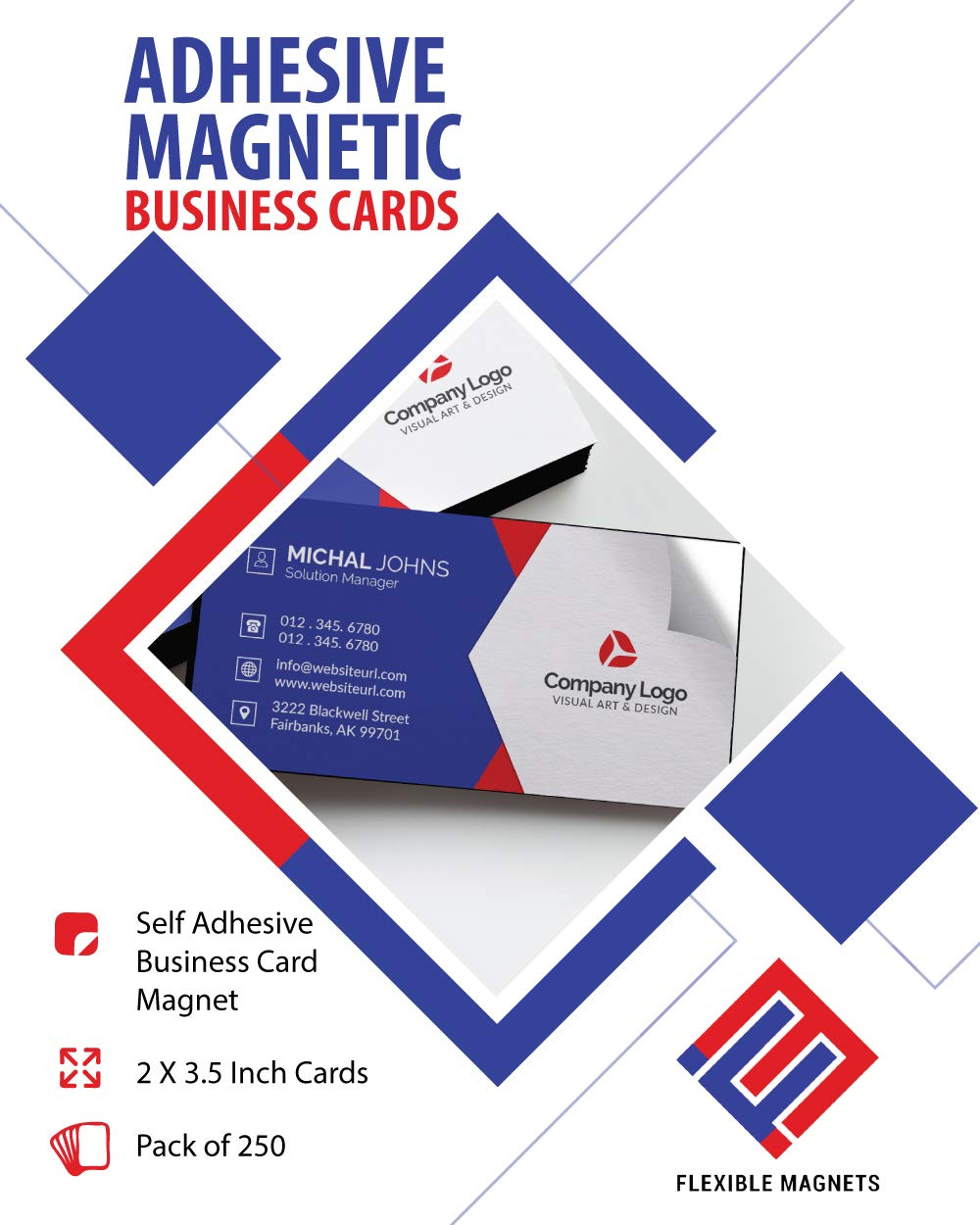 Self Adhesive Business Card Magnets, 20 mil Peel and Stick. (250)
