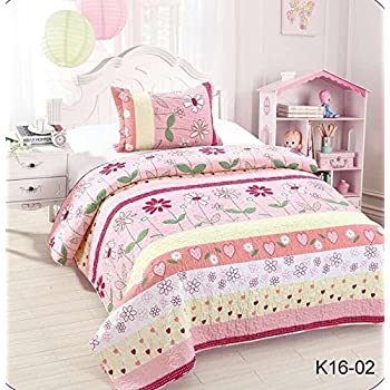 Golden Linens Twin Size Kids Bedspread Quilts Throw Blanket For Teens Girls  Bed Printed Bedding Coverlet