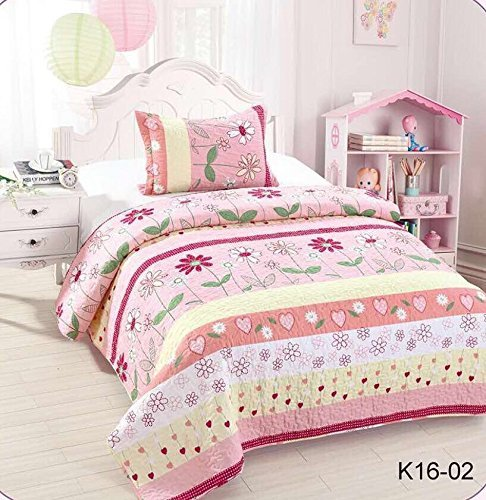 Golden Linens Twin Size Kids Bedspread Quilts Throw Blanket for Teens Girls Bed Printed Bedding Coverlet Floral Multi color Light Pink, Yellow, Hot Pink & Sage # Twin 16-02