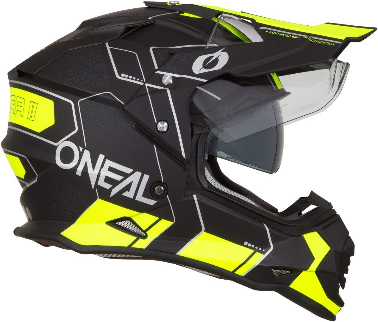Farbe Schwarz Neon Gelb 0817 ONeal Sierra II Comb Motocross Motorrad Helm MX Enduro Trail Quad Cross Offroad Gel/ände Gr/ö/ße S