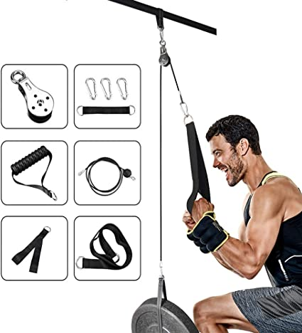 Fitness Home Pulley Cable Machine Attachment System Arm Biceps Triceps Rope Kit