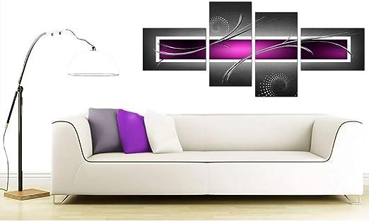 JAVA 5p plum grey wall art canvas print artwork framed home living room large