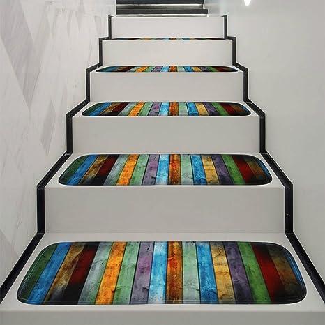 Jeeke 1 juego de alfombrilla para escalera, alfombrilla antideslizante de forro polar, alfombra para escalera, 5PC, Multicolor: Amazon.es: Deportes y aire libre