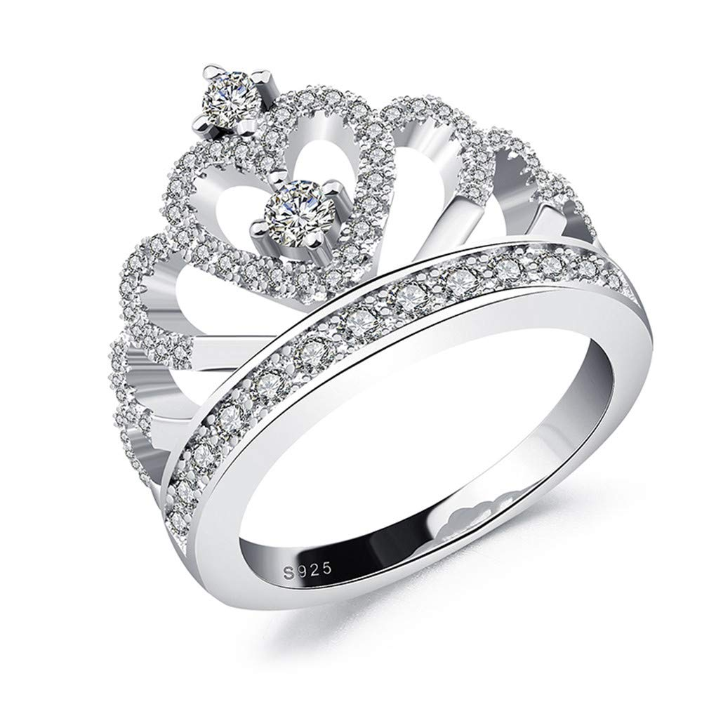 Ferusshomic Princess Style Hollow Heart Silver//Rose Gold Color Crown Ring Engagement Wedding Party 896 8