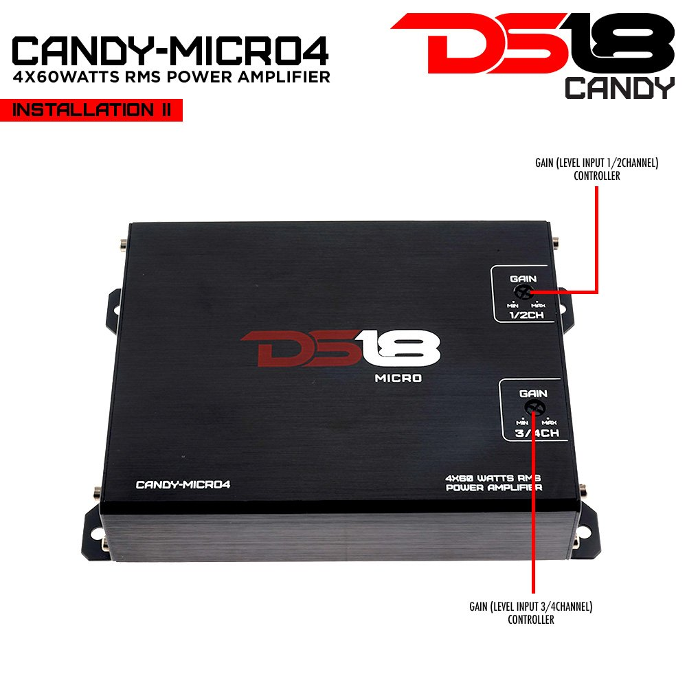 DS18 CANDY-MICRO4 4x60W RMS 4 Channel Full Range Micro Amplifier for Car/Motorcycle/ATV