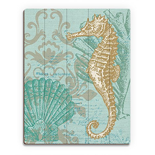 Damask Seahorse Light Green: Seahorse Scallop Seashell and Coral Victorian Vintage Nautical Line Drawing on Seafoam Green Celadon Canvas-pattern for Beach House Wall Art Print on (Vintage Scallop)