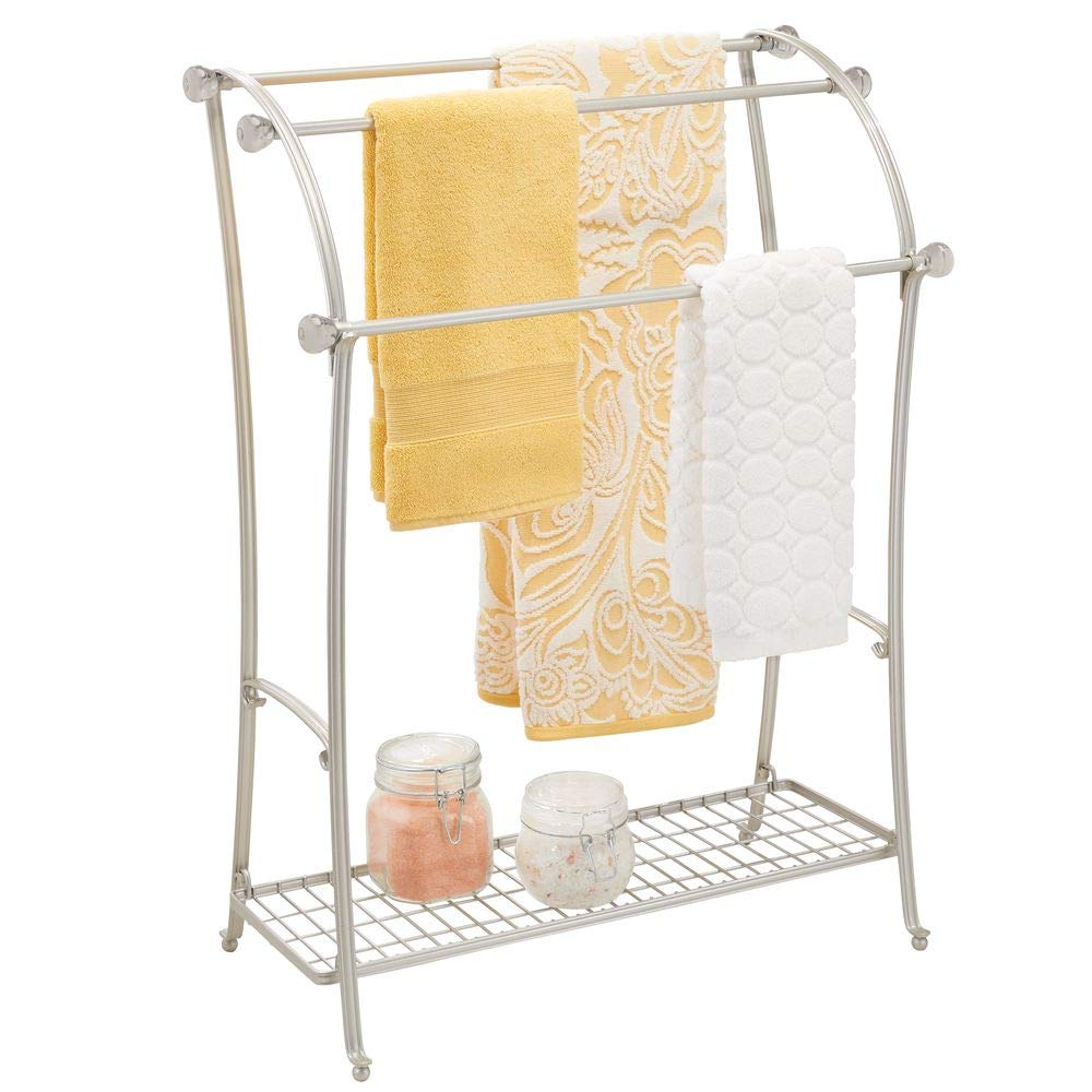 mDesign Large Freestanding Towel Rack Holder with Storage Shelf - 3 Tier Metal Organizer for Bath & Hand Towels, Washcloths, Bathroom Accessories - Satin