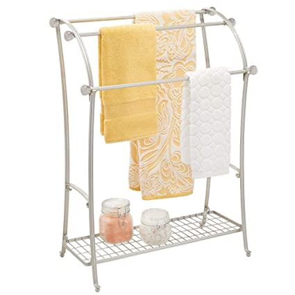 mDesign Large Freestanding Towel Rack Holder with Storage Shelf - 3 Tier Metal Organizer for Bath