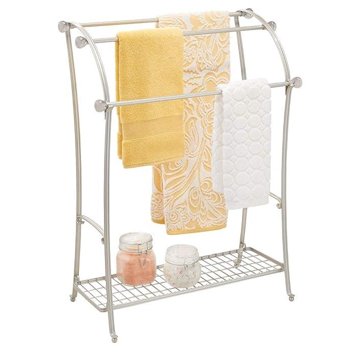 mDesign Colgador de toallas - Toalleros de pie con 3 barras ...