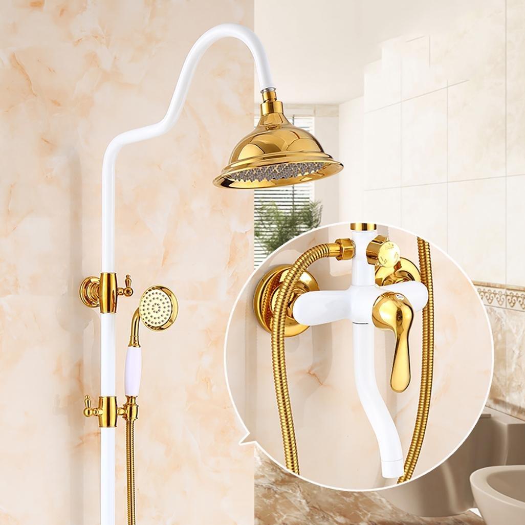 C PLYY European Style Duschsystem Handbrause und Top Dusche + Wandmontage Wasserhahn Duschsystem