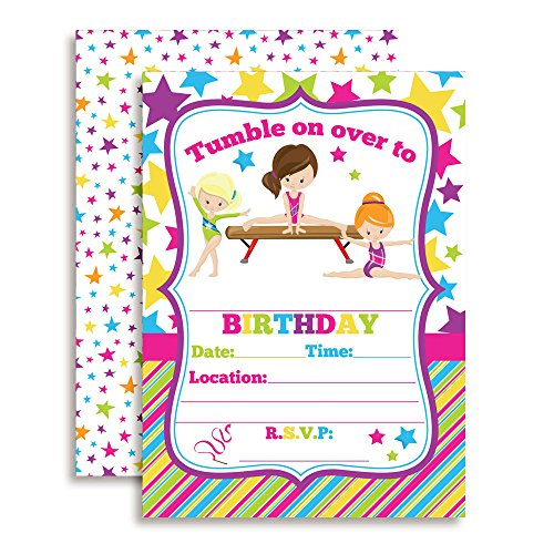 Gymnastics Birthday Party Invitations for Girls, Ten 5
