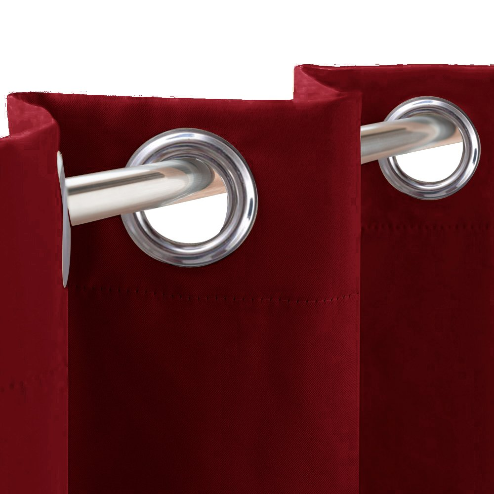 Kitchen Window Blackout Curtain Tier - RYB HOME Heavy Duty Thermal Insulated Versatile Blackout Valances for Dinning Room / Girl's Room, 52 x 36 in Each Panel, Burgundy Red