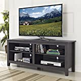 "WE Furniture 58"" Wood TV Stand Storage Console, Charcoal"