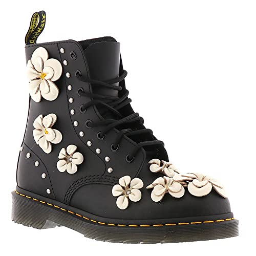 LADIES DR MARTENS PASCAL FLOWER BLACK HYDRO LEATHER 8 EYELET BOOTS-UK 4 (EU 12938672d