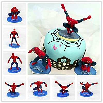 CHOCKACAKE Spider man Avengers Superhero Action Figure Collectible 7pcs Cake Topper Kids Boy Birthday Gift Spiderman Toys Decoration: Toys & Games