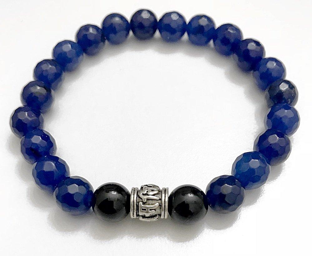 KarmaArm Beaded Bracelet, Buddhist Jewelry, OM MANI PADME HUM   Sapphire   Black Onyx   Reiki Healing Yoga Bracelet (6.5)
