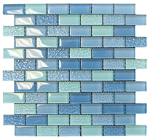 Pool Wave Blue Crystal Subway Glass Mosaic Tile for Bathroom and Kitchen Walls Kitchen Backsplashes By Vogue Tile ()