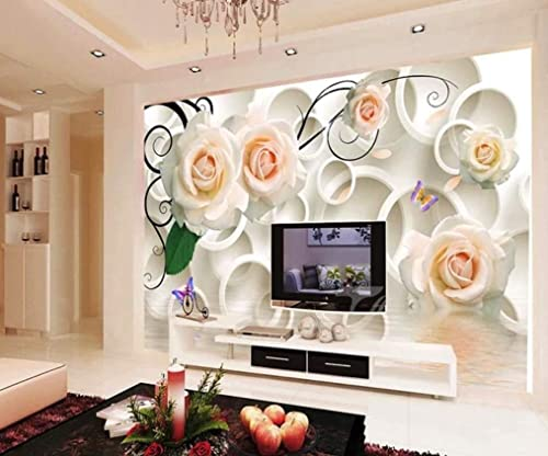 Amazon Com Muraviewall 3d Circle Luxury White Rose Flower Wallpaper Soft Package Stereo Tv Background Hotel Living Room Tv Sofa Mural Children Bedroom Peel And Stick I Custom Size Handmade