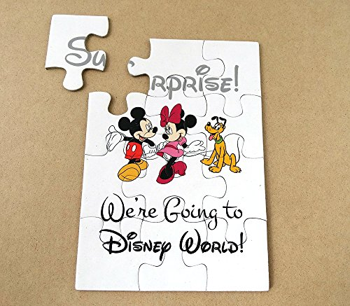 (ONE) We are going to Disneyland, Surprise Puzzle, Invitation, Mickey and Minnie Mouse, Goofy, Red, Pink, Black & White, Organza Pouch (Minnie Mouse Invitations Red)